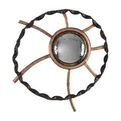 "Michel Salerno, ""Soleil Dans La Nuit,"" Handmade Bronze Mirror, France, 2020"