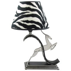 Michel Zadounaisky Art Deco Antelope Wrought Iron Table Lamp