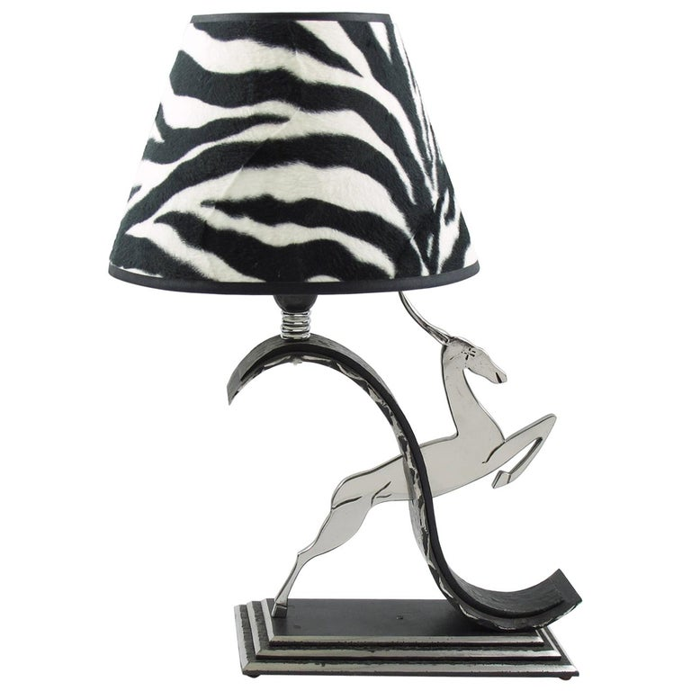 Michel Zadounaisky Art Deco Antelope Wrought Iron Table Lamp For Sale