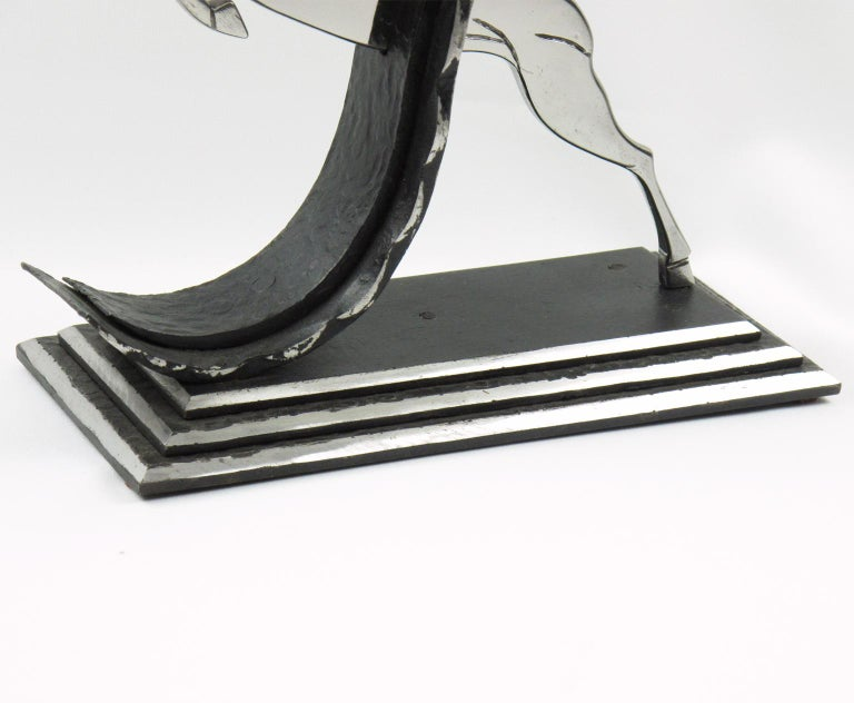 Michel Zadounaisky French Art Deco Jumping Antelope Wrought Iron Table Lamp In Excellent Condition For Sale In Atlanta, GA