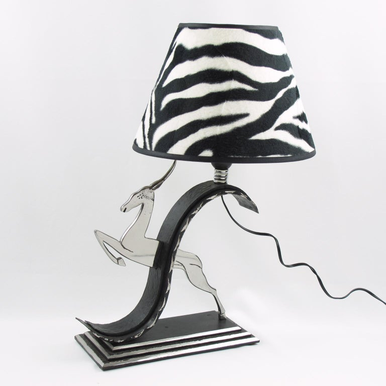 Chrome Michel Zadounaisky French Art Deco Jumping Antelope Wrought Iron Table Lamp For Sale