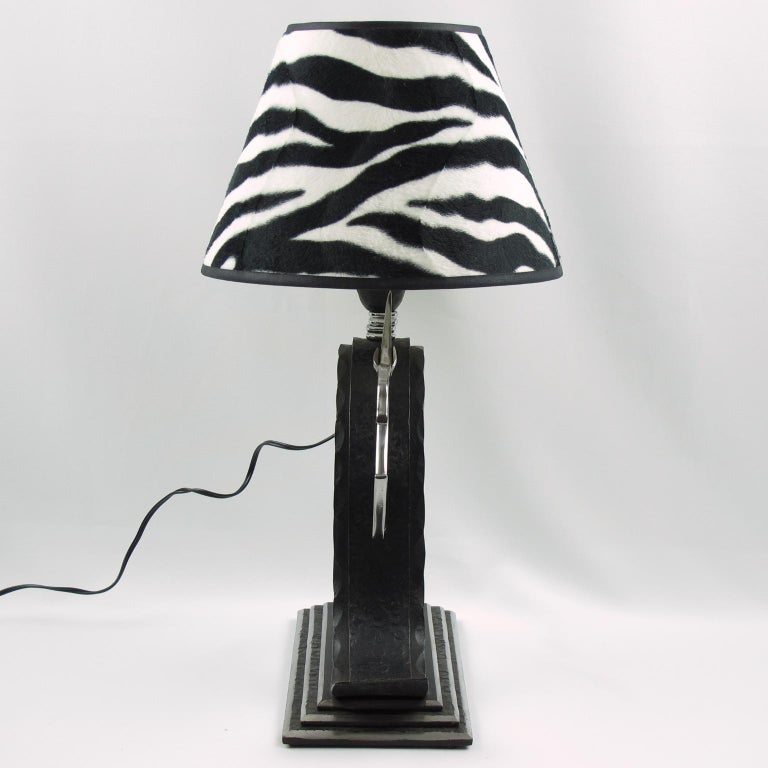 Michel Zadounaisky French Art Deco Jumping Antelope Wrought Iron Table Lamp For Sale 1