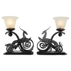 Michel Zadounaïsky French Art Deco Pair of Wrought-Iron Antelope Lamps, 1930s