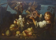17th Century Baroque Attributed to Michelangelo Pace Still Life Oil On Canvas