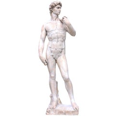Michelangelo's David, a Victorian Plaster Statue, after the Antique