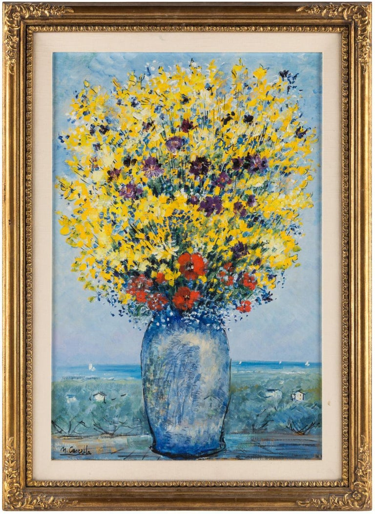 Michele Cascella(Italian 1892-1989).  Bouquet of Field Flowers Before a Landscape,  Oil on canvas  Measures: 76.5 x 51 cm (30 1/8 x 20 1/8 in.) . Signed lower left.  Provenance: Sotheby's, New York, October 7, 2008, lot 190, Sold for