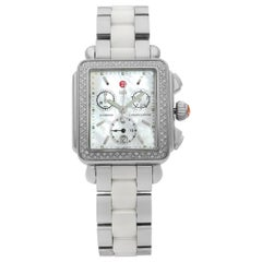 Michele Deco Chronograph Diamond Steel MOP Dial Quartz Ladies Watch MWW06A000716
