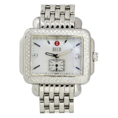 Michele Deco Stainless Steel Mother of Pearl Dial Diamond Watch