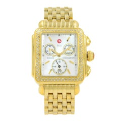 Michele Deco Steel Gold Tone Diamond 0.60 Carat MOP Watch MW06A01B0025
