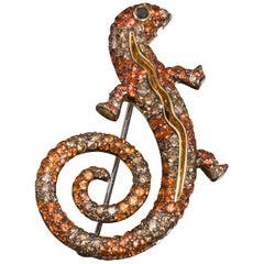 Michele della Valle Sapphire and Diamond Gecko Brooch