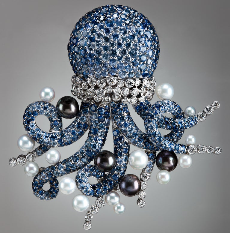 Women's or Men's Michele della Valle sapphire Octopus Brooch For Sale