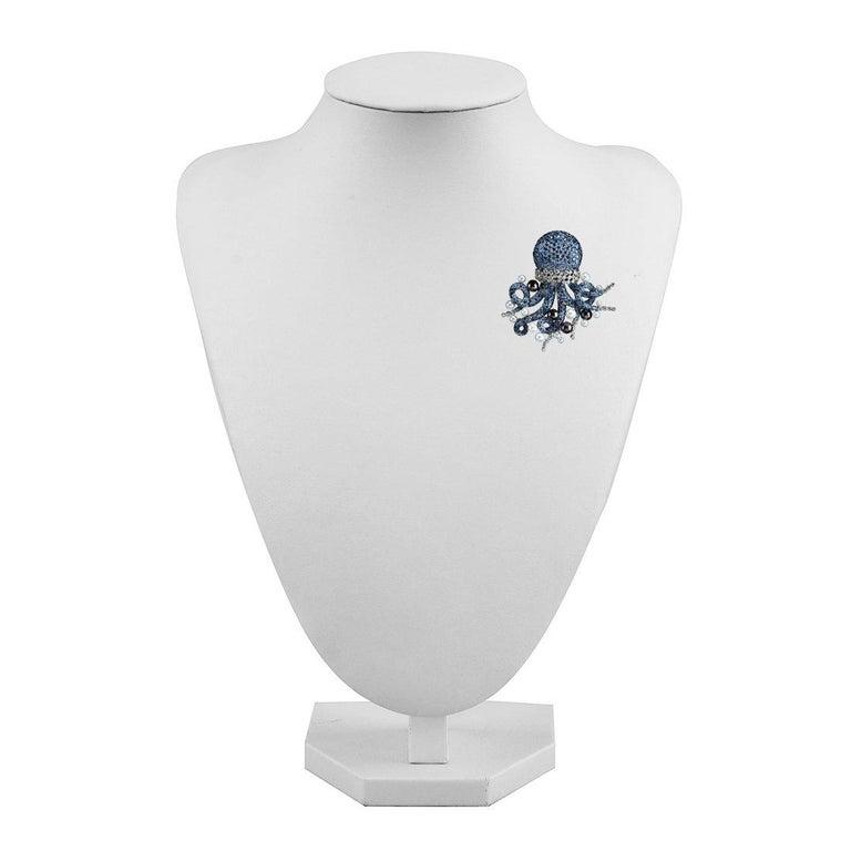 Michele della Valle sapphire Octopus Brooch For Sale 2