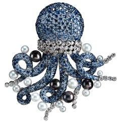 Michele della Valle sapphire Octopus Brooch