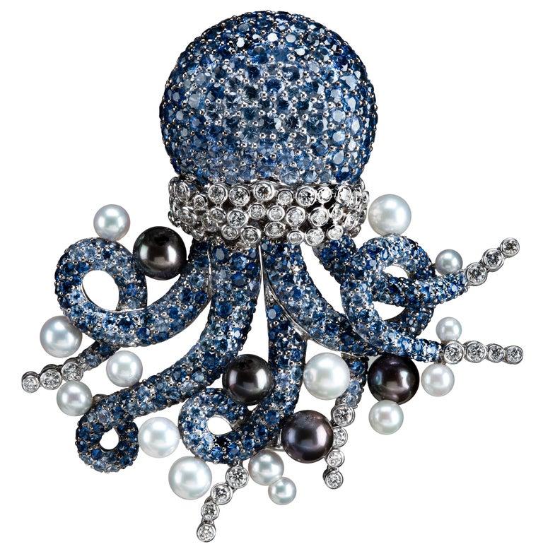 Michele della Valle sapphire Octopus Brooch For Sale