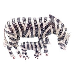 Michele Della Valle White & Black Diamond Zebra White Gold Brooch