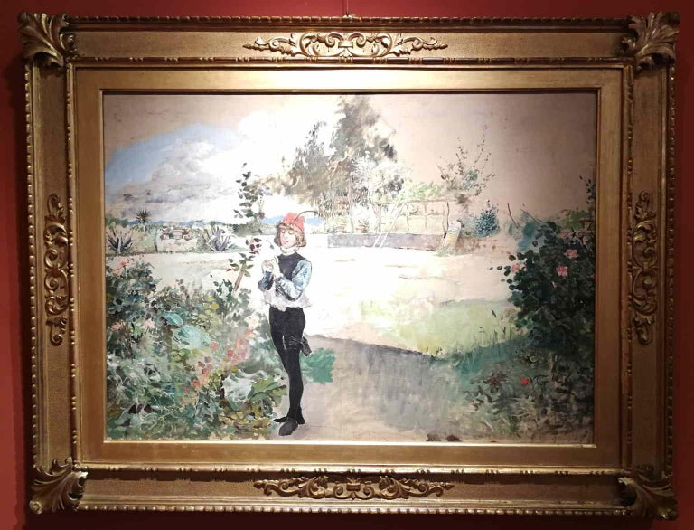 Michele Gordigiani, Page, 1890s, thin oil on canvas, signed - Brown Landscape Painting by Michele Gordigiani
