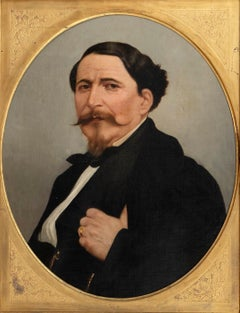 Portrait of a Man - Original Oil on Canvas by M. Gordigiani - Mid 19th Century