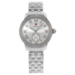 Michele Harbor Silver Dial Diamonds Steel Quartz Ladies Watch MWW28A000001