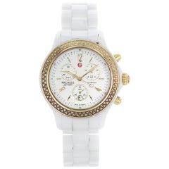 Michele Jetway White Dial Ceramic 0.50 Carat Diamond Watch MWW