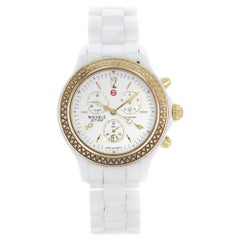 Michele Jetway White Dial Ceramic 0.50 Carat Diamond Watch MWW17B000007