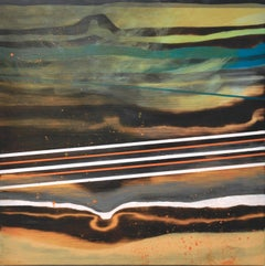 After the Fact -- contemporary geometric abstract landscape painting on wood