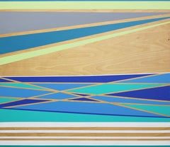 Midsummer, High Tide -- abstract geometric landscape painting w/ blue & green