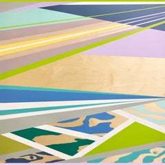 Tide Pools, Late May -- abstract geometric landscape painting w/ blue & green