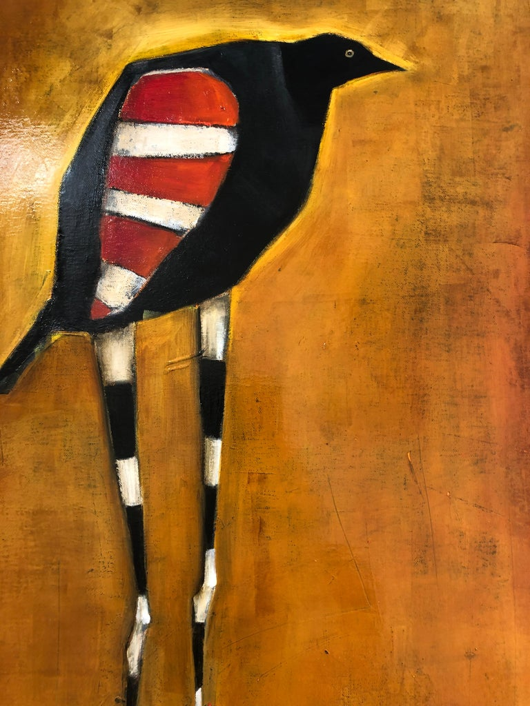 Bird of Ares, Oil on canvas, pop sureal contemporary whimsical orange painting - Painting by Michele Mikesell