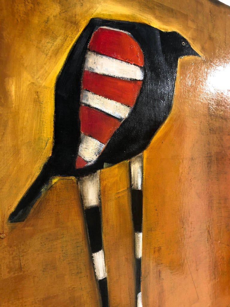 Bird of Ares, Oil on canvas, pop sureal contemporary whimsical orange painting - Pop Art Painting by Michele Mikesell