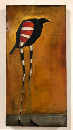 Bird of Ares, Oil on canvas, pop sureal contemporary whimsical orange painting