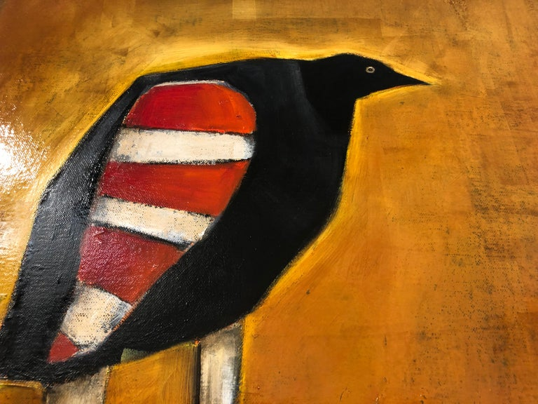 Michele Mikesell Figurative Painting - Bird of Ares, Oil on canvas, pop sureal contemporary whimsical orange painting