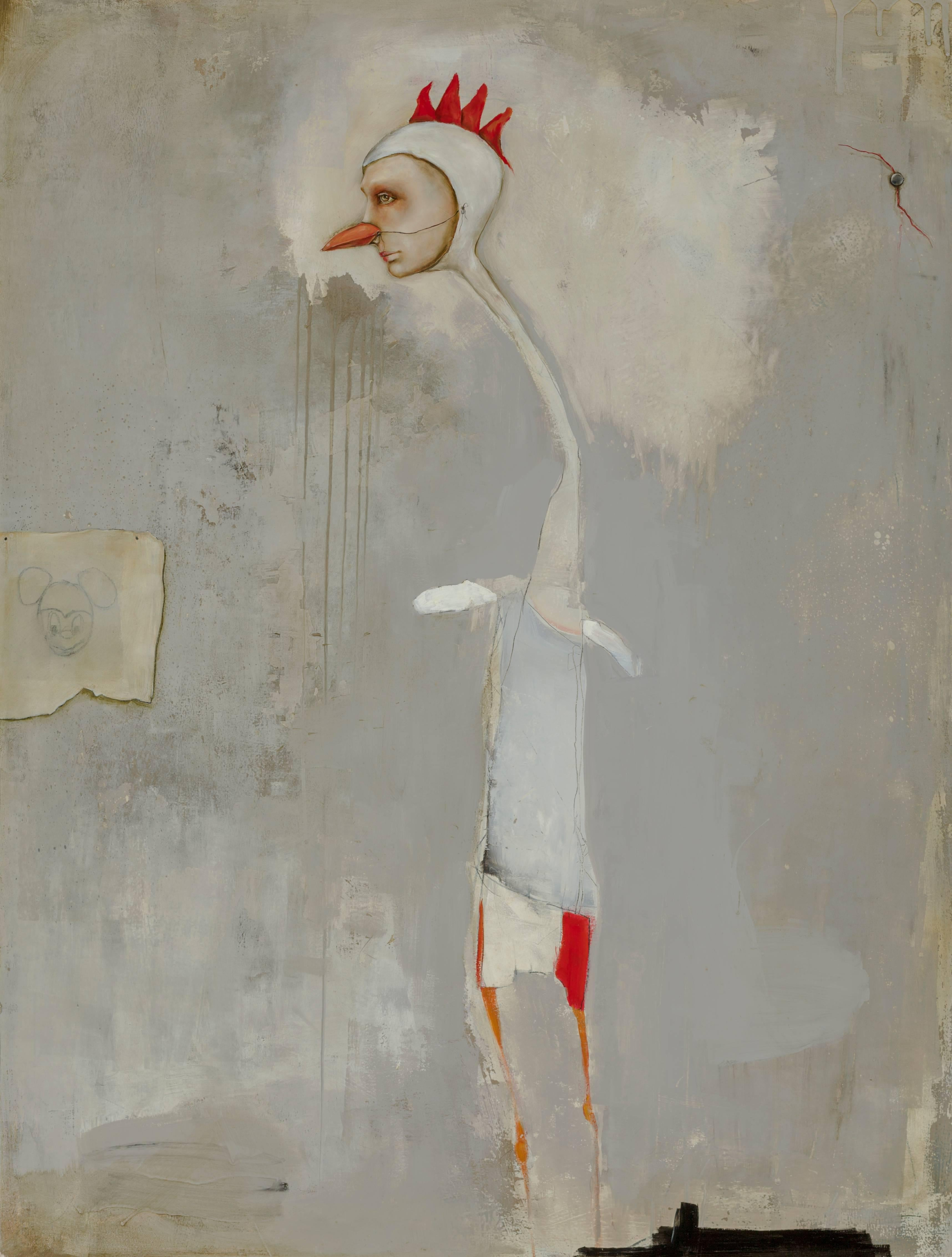 Chicken Scratch, Michele Mikesell, Oil on wood, abstract figurative painting
