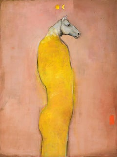 Eos -Mythical horse figure, Oil on canvas, pop contemporary whimsical painting