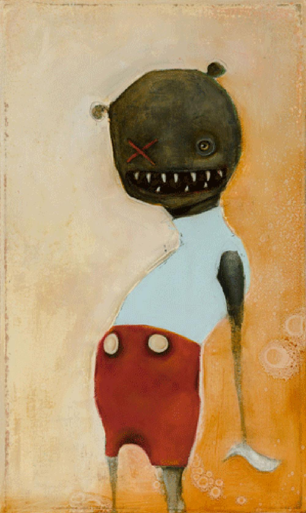Jelly by Michele Mikesell, Oil on canvas, pop figurative whimsical painting