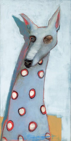 Laelaps, Oil on canvas, whimsical pop Dog with blue background and red spots