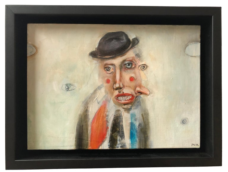 Lookie Lou, Michele Mikesell, pop figurative oil painting, small size with frame - Contemporary Painting by Michele Mikesell
