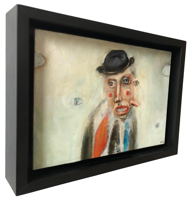 Lookie Lou, Michele Mikesell, pop figurative oil painting, small size with frame - Beige Portrait Painting by Michele Mikesell