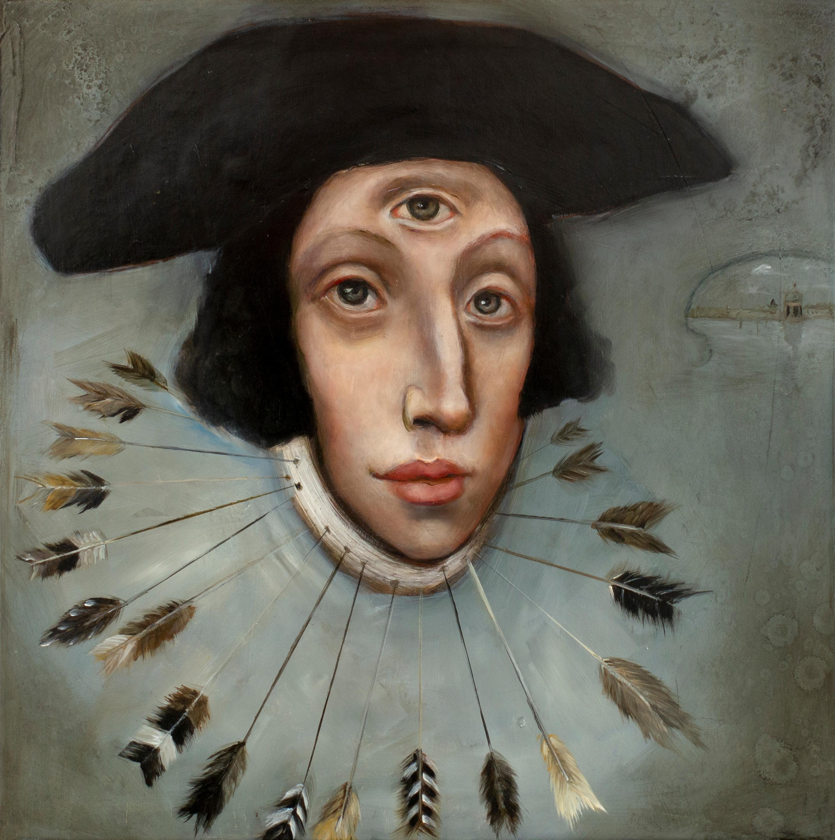 """Saint Edmund"", Oil on canvas, mysterious and whimsical pop art portrait"