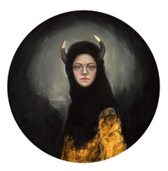 Shield of Ariadne, Round oil on canvas, strong female portrait w horns, realism