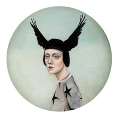 Shield of Coronis, Round oil on canvas, strong female portrait w wings, realism