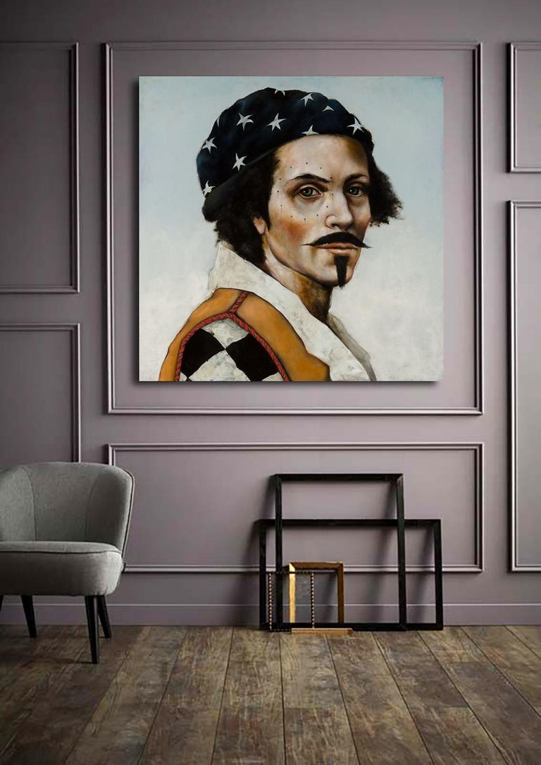 Star Walker by Michele Mikesell, Oil on canvas, Pop pirate portrait, 48 inches For Sale 1
