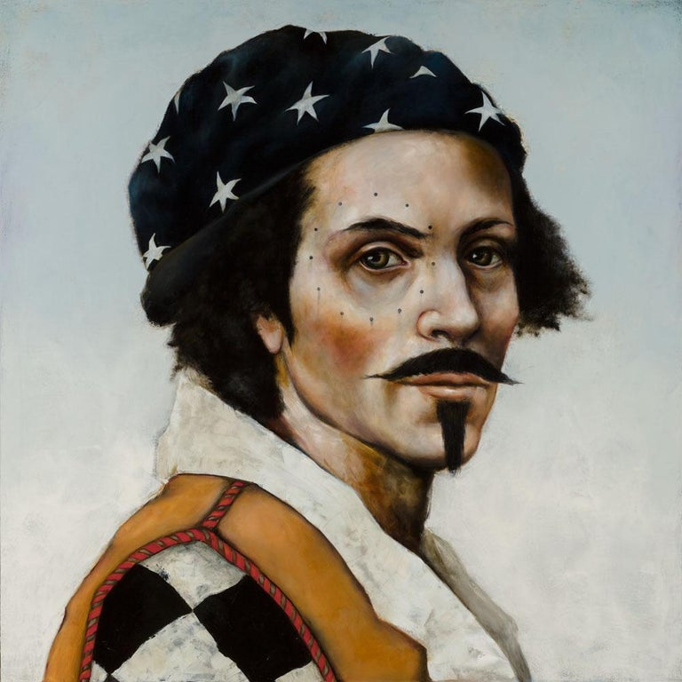 Star Walker is a stunning pop figurative portrait of a handsome pirate wearing a star-studded bandana. Using oil on canvas, the figure is Mikesell's loose narrative of a Johnny Depp looking character.   Star Walker Oil on canvas 48 x 48 inches 122 x