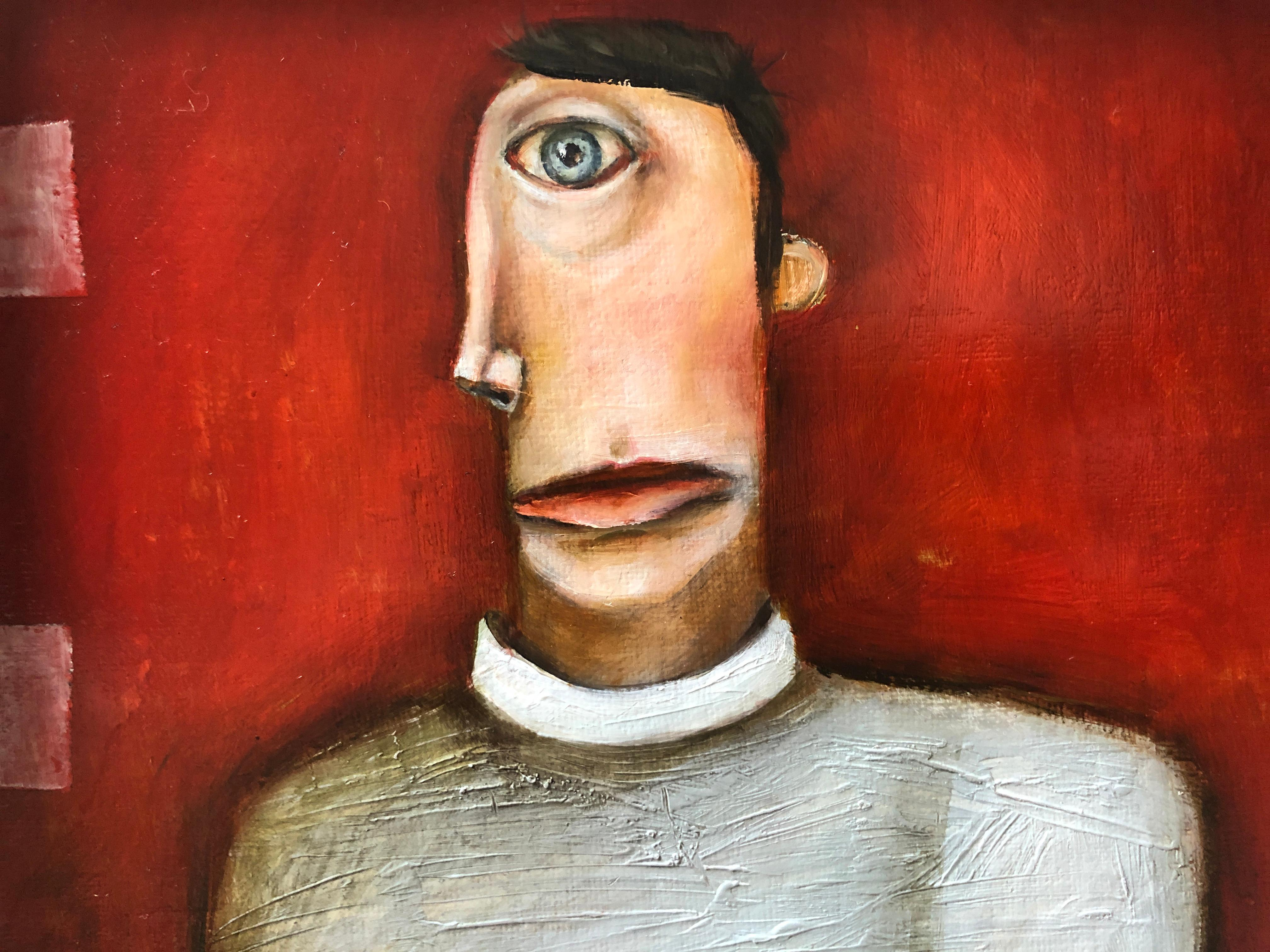 The Aboulo Maniac, Michele Mikesell, red pop figurative oil painting, framed
