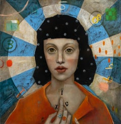 """The Blessing"", Oil on canvas, mysterious and whimsical pop art portrait master"