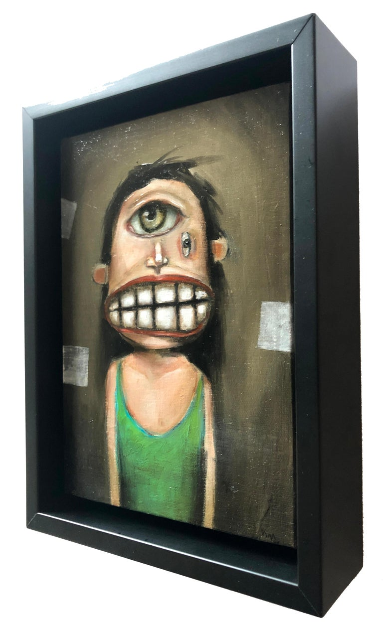 The Flounder, Michele Mikesell, pop-surreal figurative oil painting, framed For Sale 1
