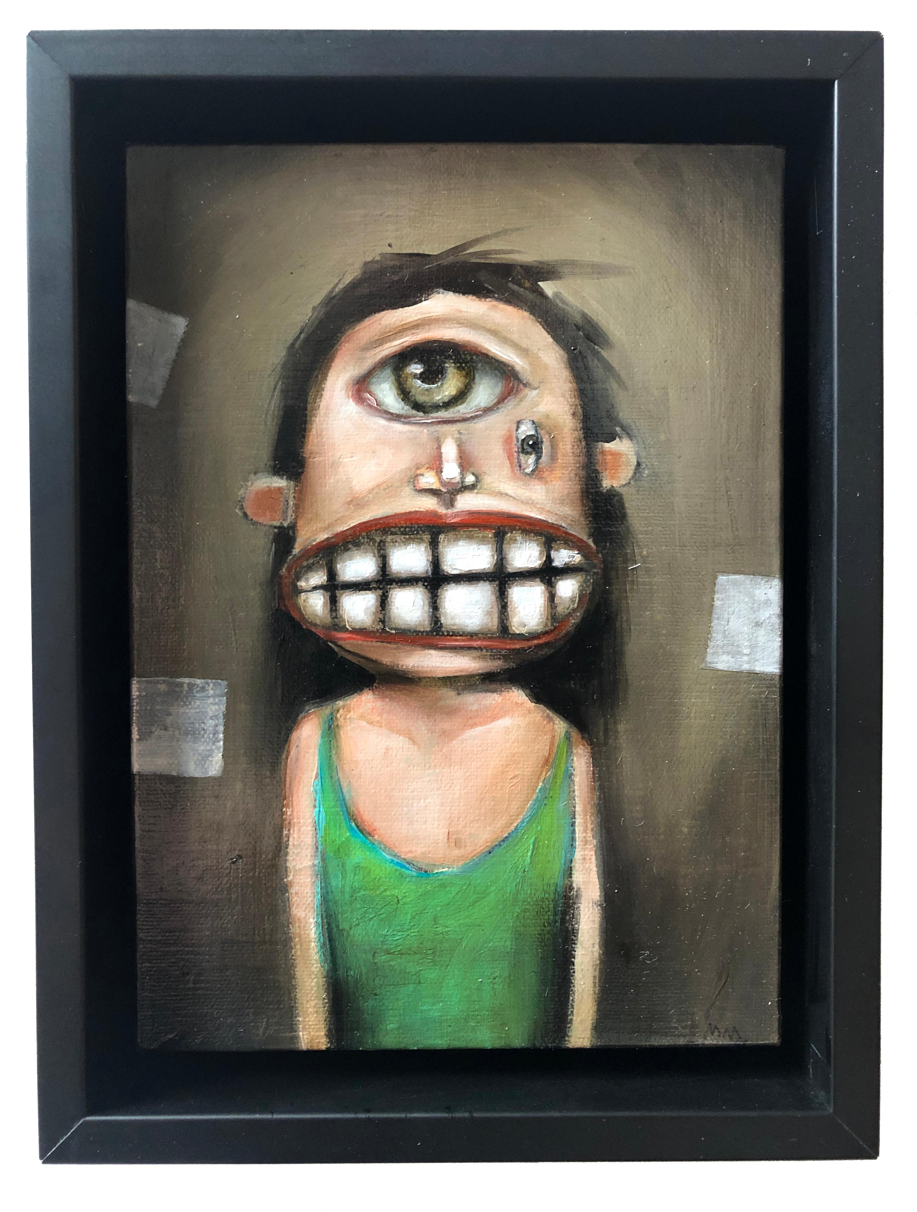 The Flounder, Michele Mikesell, pop-surreal figurative oil painting, framed