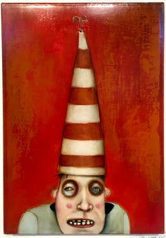 The Lookout by Mikesell, Oil on canvas, red pop figurative whimsical painting