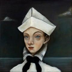 """The Navigator - Saint Brenda"", Oil on canvas, mysterious and whimsical pop art"