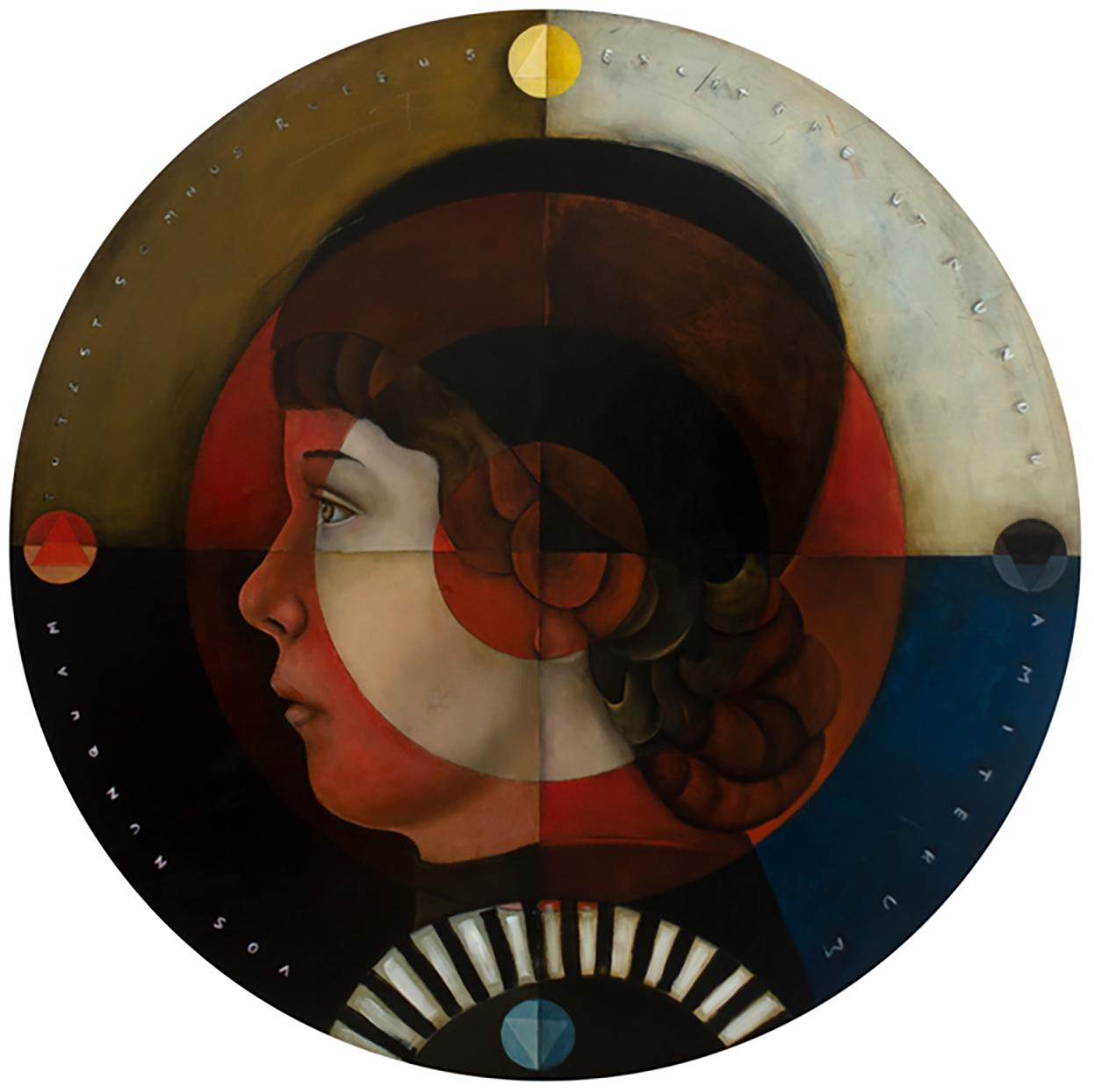 """""""The Stoic's Shield"""", Oil on canvas, whimsical pop art portrait master, round"""