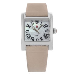 Michele MW2 Mini White MOP Dial Square Leather Steel Quartz Ladies Watch
